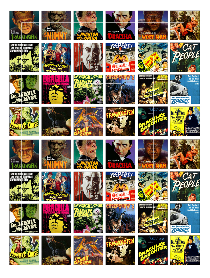 Old Horror Movie Posters Squares