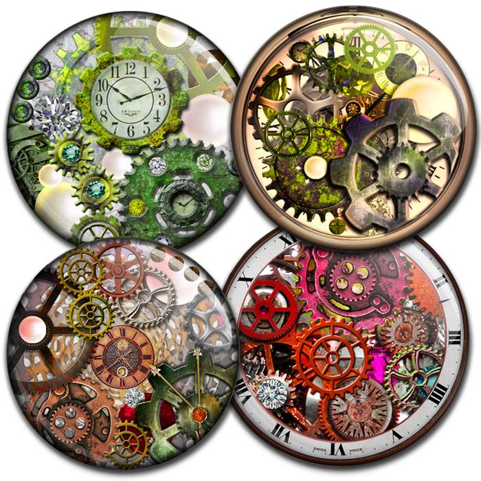 steampunk gears and cogs bottlecap4u