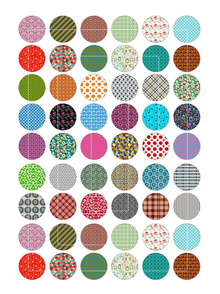 Multicolor Patterns Circles  Bottlecap4u
