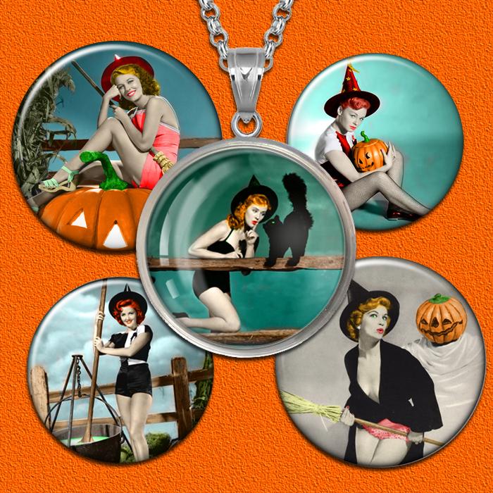 Vintage Halloween Circle Images Digital Collage Sheet