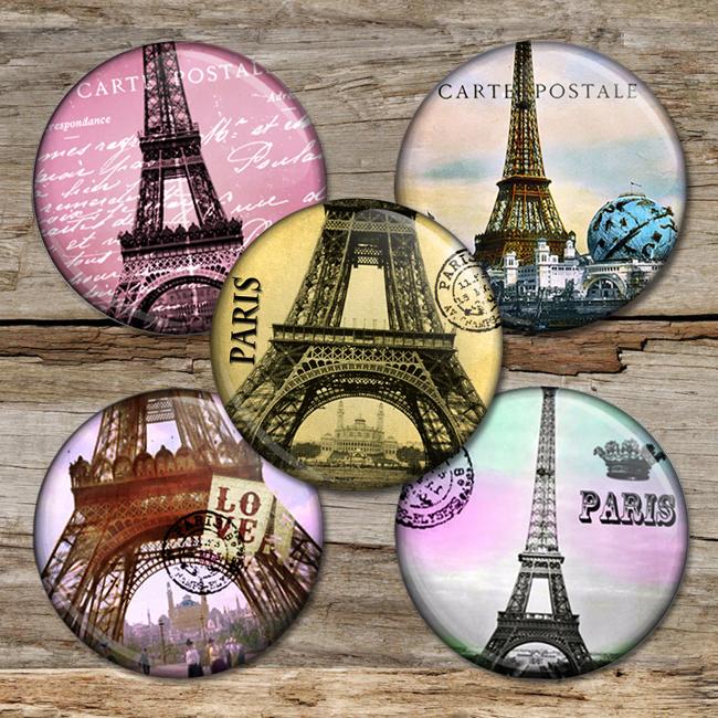 Paris Circle Images Digital Collage Sheet Bottlecap4u