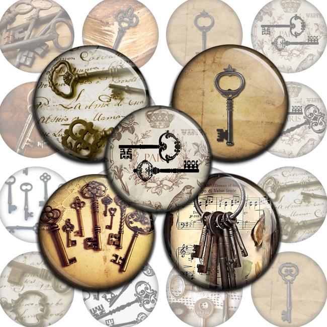 Old Keys Circles Bottlecap4u