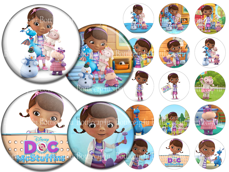 graphic about Printable Bottlecap Images titled Document McStuffins 1 inch Bottle cap shots 4×6 printable collage sheet