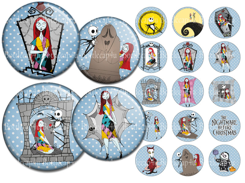 Nightmare before Christmas 1 inch bottle cap images 4x6 collage ...