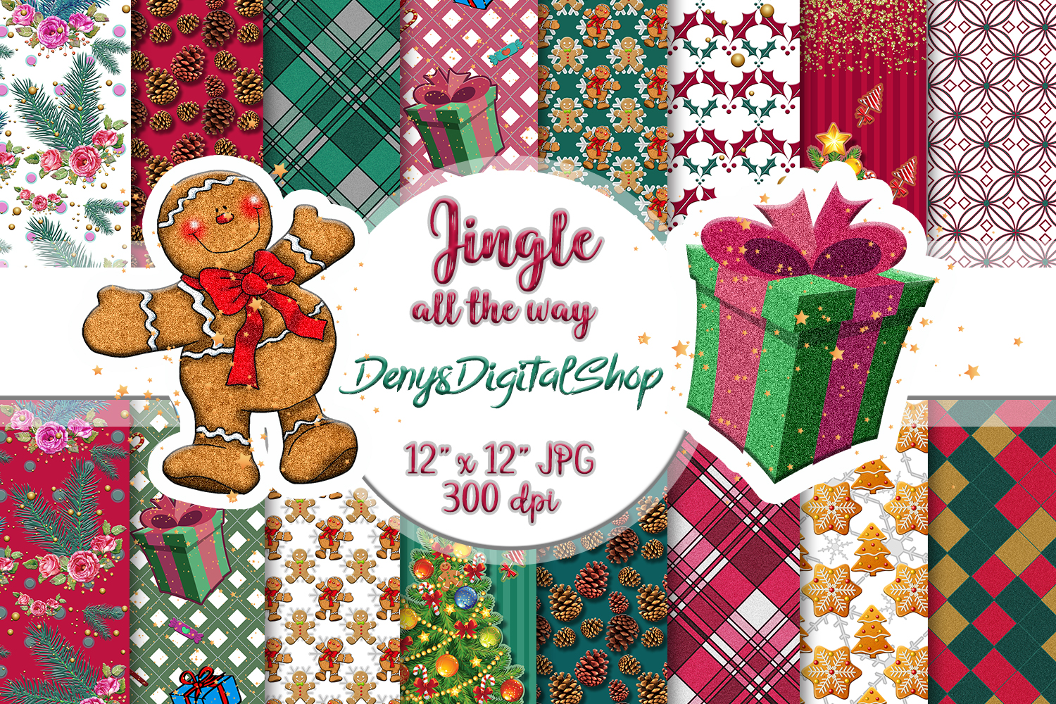 Christmas Scrapbook Paper.Christmas Papers Jingle All The Way Scrapbook Digital Papers