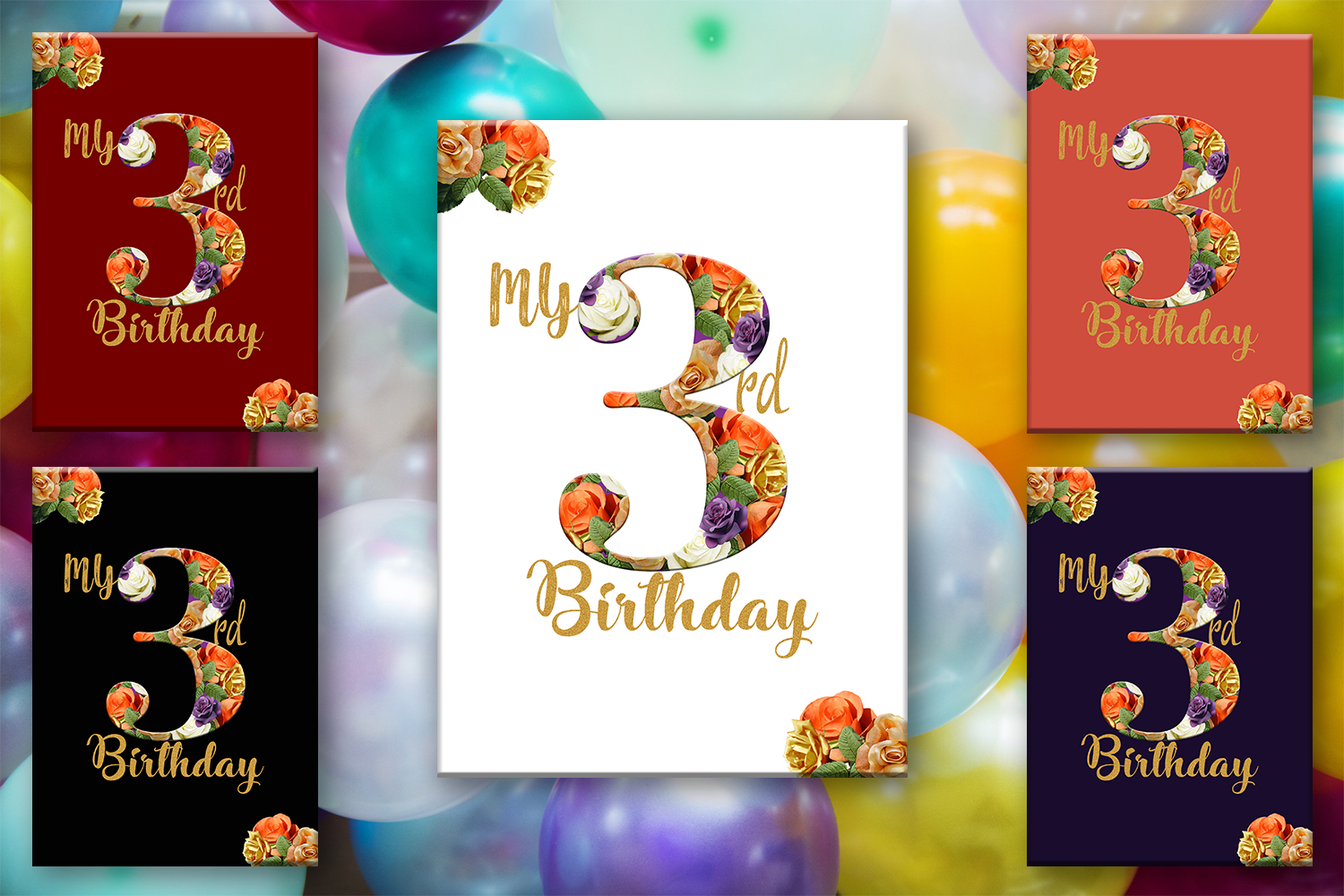 Birthday Card Happy First BirthdayCute 3rd BirthdayInstant Download Digital Printable