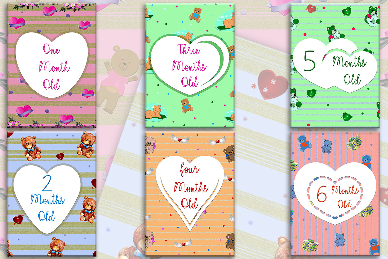 graphic regarding Printable Baby Month Signs called Printable Little one Milestone Playing cards - 1st 12 months Milestone