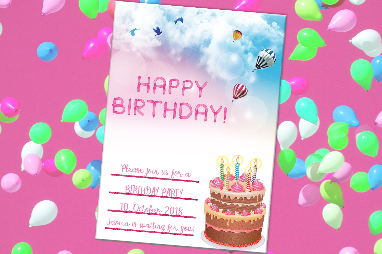 happy birthday card  party card  digital download