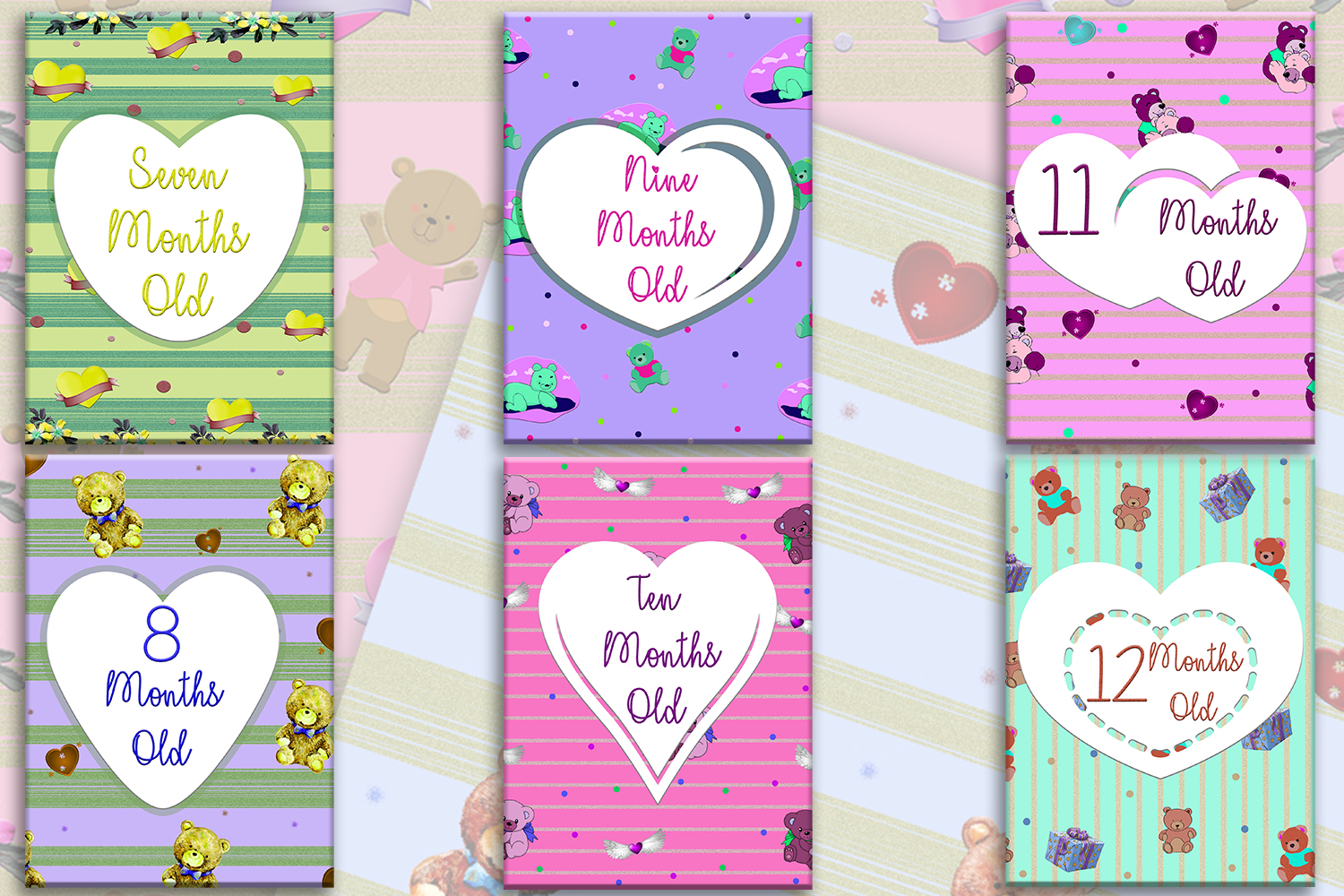 image relating to Printable Baby Cards known as Printable Youngster Milestone Playing cards Initially 12 months Milestone